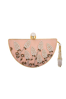 Gold Handcrafted Embroidered Clutch by Be Chic