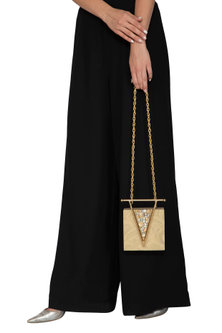 Pearl Gold Crystal Clutch by Be Chic