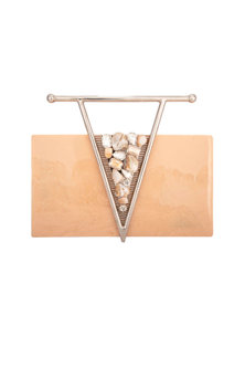 Peach Clutch With Metal Work by Be Chic