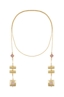 Gold Finish Pink Colored Stone Necklace by Belsi's Jewellery