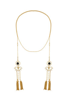 Gold Finish Stone & Tassel Necklace by Belsi's Jewellery