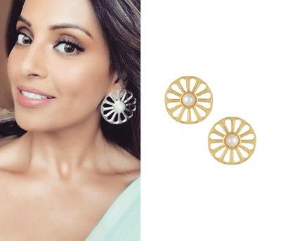 Gold plated wheel earrings by Valliyan by Nitya Arora