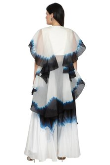 White Tie-Dye Layered Top With Pants by BLONI