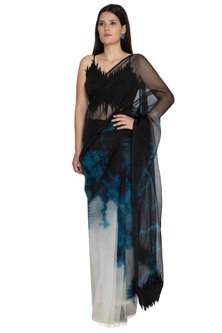Black & White Tie-Dye Saree With Skirt by BLONI