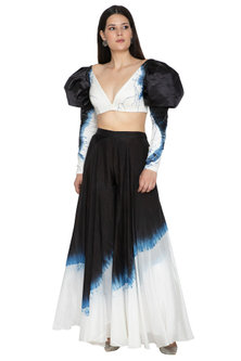 White Tie-Dye Embroidered Crop Top by BLONI