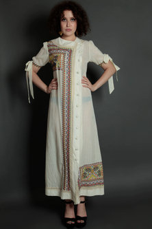 Ivory Embroidered Floral Maxi Dress by Bhanuni by Jyoti