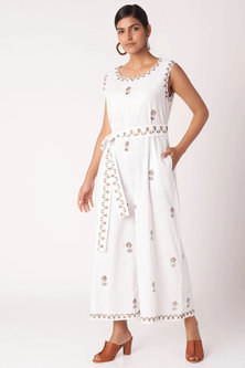 White Block Printed Jumpsuit With Belt by Bohame