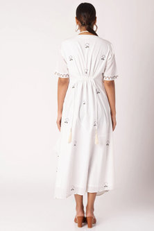 White Printed Dress Come Jumpsuit by Bohame