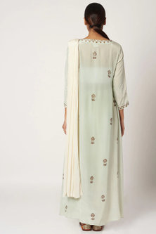 Mint Green Printed Top With Pants & Dupatta by Bohame