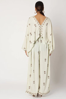 Mint Blue Hand Block Printed Jumpsuit by Bohame