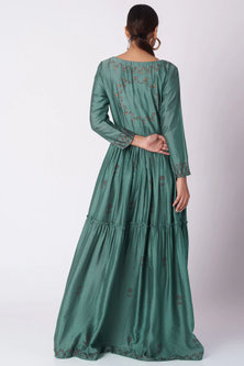 Turquoise Green Hand Block Printed Dress by Bohame