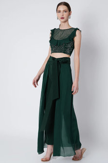 Emerald Green Embroidered Blouse With Lehenga Pants & Sash by Babita Malkani