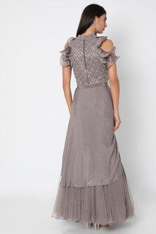 Taupe Grey Embroidered Blouse With Lehenga Skirt by Babita Malkani