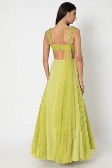 Chartreuse Green Lehenga Skirt With Embroidered Blouse by Babita Malkani