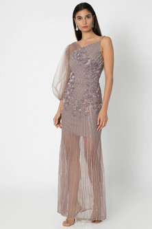 Taupe Grey Embroidered One-Shoulder Gown by Babita Malkani