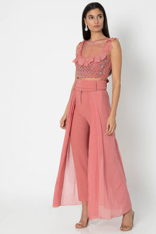 Rose Pink Embroidered Crop Top With Pants by Babita Malkani