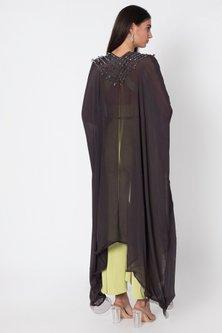 Mint Green Crop Top WIth Pants & Cape by Babita Malkani