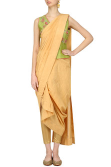 Lime Green Peplum Top and Draped Saree by Breathe By Aakanksha Singh