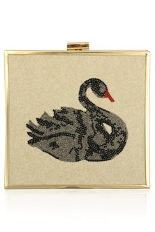 White Duck Motif Crystal Work Clutch by RASEEL AT CASAPOP
