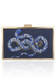 Blue Snake Motif Crystal Work Clutch by RASEEL AT CASAPOP