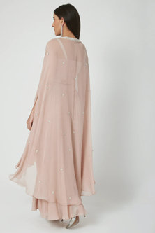 Nude Embroidered Blouse With Pants & Cape by Chhavvi Aggarwal