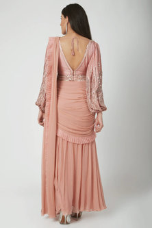 Blush Pink Embroidered Pre-Draped Saree Set With Belt by Chhavvi Aggarwal