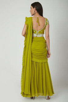 Lime Green Embroidered Pre-Draped Saree Set With Belt by Chhavvi Aggarwal