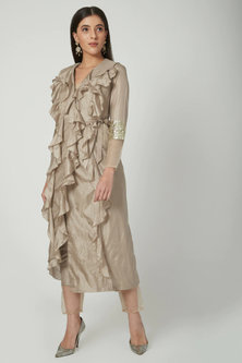 Beige Overlap Jacket With Pants by Chhavvi Aggarwal