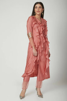 Blush Pink Overlap Jacket With Pants by Chhavvi Aggarwal