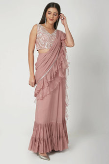 Mauve Embroidered Pre-Draped Saree Set by Chhavvi Aggarwal