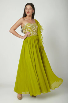 Lime Green Embroidered Anarkali by Chhavvi Aggarwal