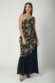 Navy Blue One Shoulder Saree Gown by Chhavvi Aggarwal