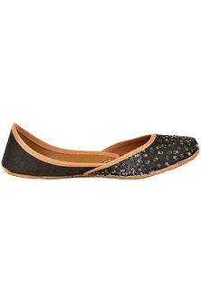 Black And Silver Embroidered Juttis by Coral Haze