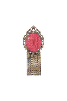 Antique Gold Finish Ruby Red Stone Brooch by Cosa Nostraa