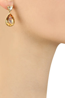 Gold Plated Classic Brilliance Earrings by Isharya X Crystals From Swarovski