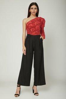 Red & Black One Shoulder Jumpsuit by Sameer Madan
