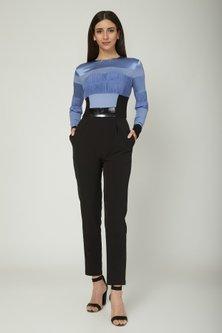 Blue & Black Jumpsuit With Leather Sleeves by Sameer Madan