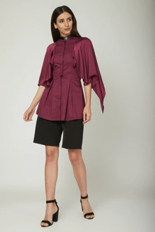 Purple Shirt With Cape Sleeves by Sameer Madan