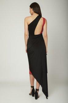 Red & Black Draped Dress by Sameer Madan