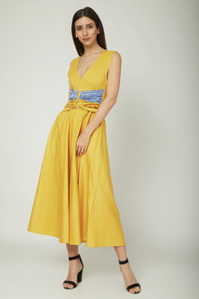 Yellow A-Line Dress With Loops by Sameer Madan