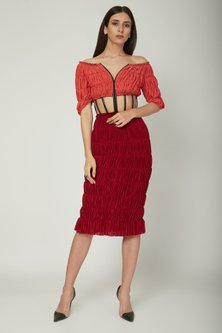 Red Color Blocked Ruched Dress by Sameer Madan