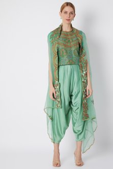 Turquoise Embroidered & Printed Cape Set by Debyani
