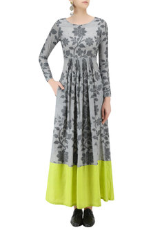 Light Grey and Lime Floral Jamdani Brocade Maxi Dress by Debashri Samanta
