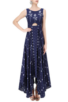 Indigo Snowflake Jamdani Motifs Cut Out Flared Asymmetrical Dress by Debashri Samanta