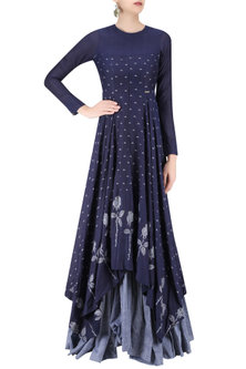 Indigo and Light Blue Rose and Triangle Jamdani Brocade Motifs Maxi Dress by Debashri Samanta