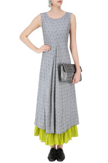 Light Grey and Lime Jamdani Brocade Motifs Maxi Dress by Debashri Samanta