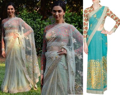 Turquoise embroidered net saree with mint floral printed blouse by Anju Modi
