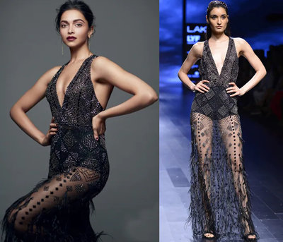 Black Feather Bead Embellished Gown by Atsu