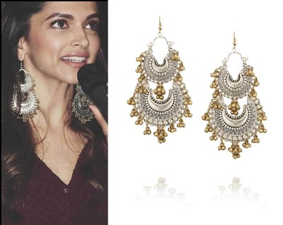 Silver plated twin crescent earrings with gold ghungroo hanging by Ritika Sachdeva