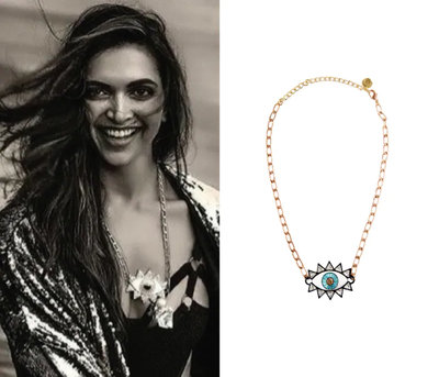The Evil Eye Necklace with Rose Gold Plating and Swarvoski Crystals by Valliyan by Nitya Arora